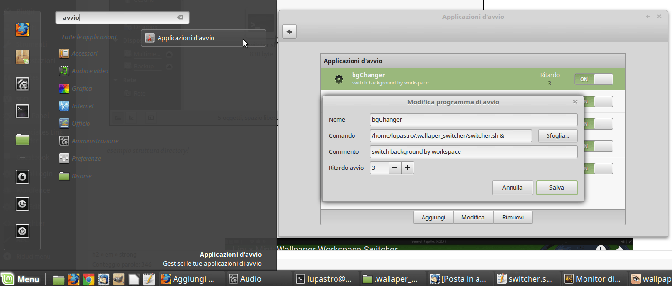 linux mint wallpaper_switcher_avvio